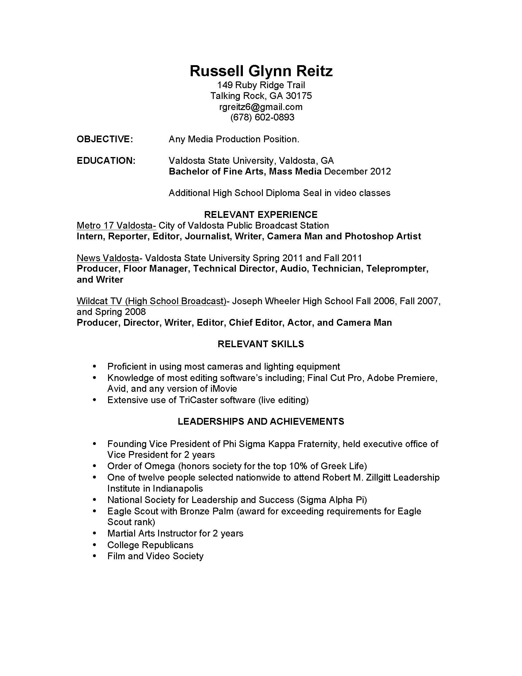 news videographer sample resume