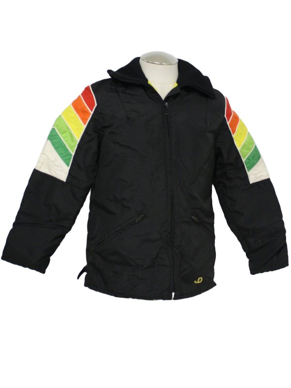 Vintage 1980' Jacket 80s -john Deere- Unisex Black Red