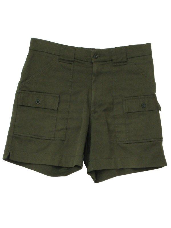 1980' Retro Shorts 80s -sportif- Mens Dark Olive Green