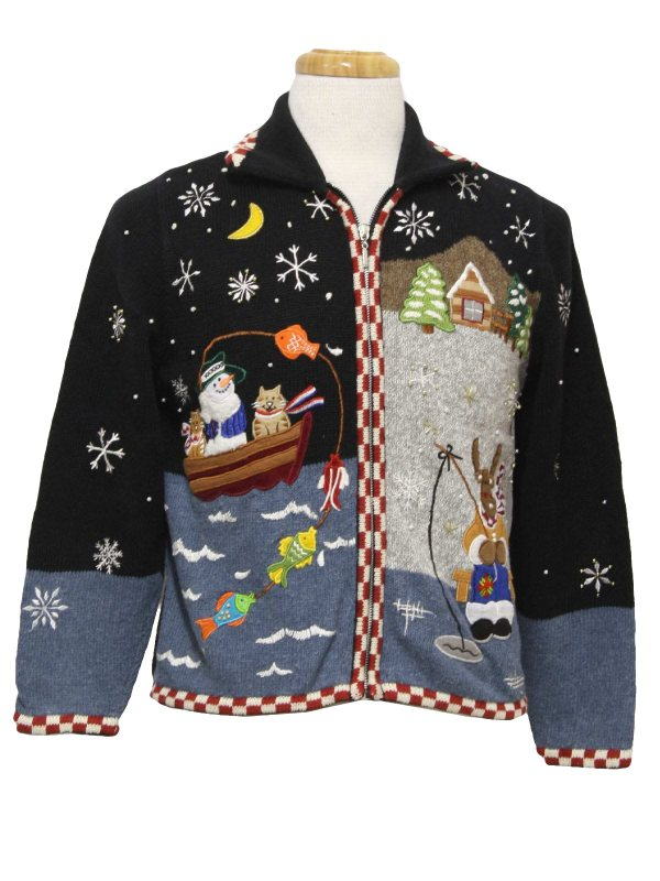 Womens Ugly Christmas Sweater -ambra- Black And