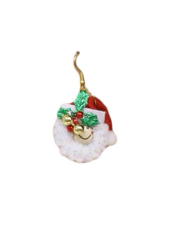 Womens Jewelry Ugly Christmas Happy Face Santa Earrings