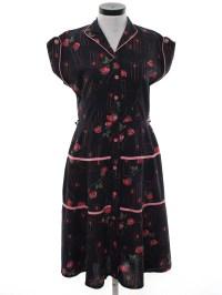 50s Dress: 50s -No Label- Womens black background cotton ...
