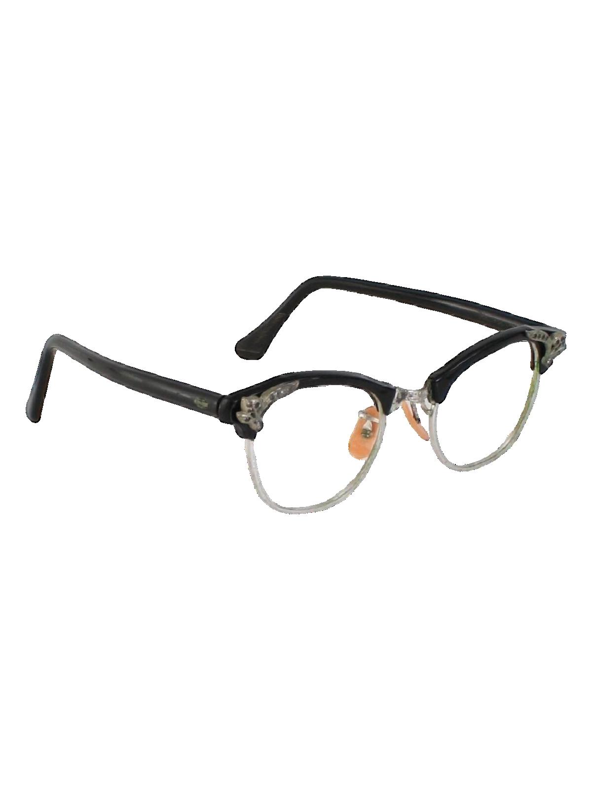 50 S Vintage Glasses 50s Art Craft Womens Black Plastic