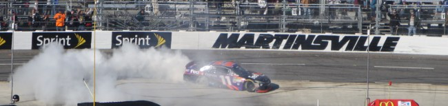 Denny Hamlin celebrates his fifth career win at Martinsville Speedway.