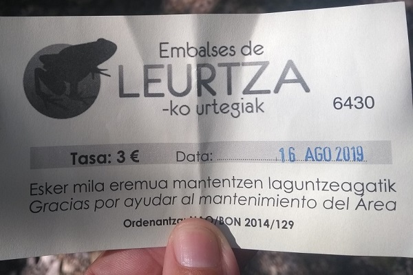 Ticket parking embalses de Leurtza