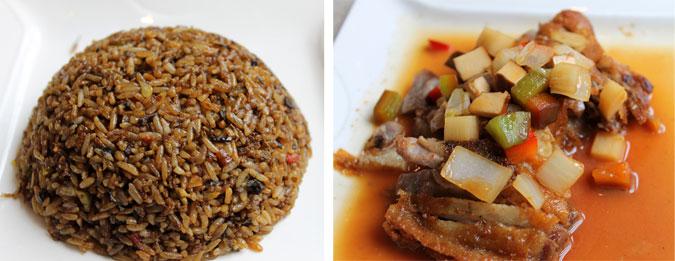Plato principal: Pato con Tofu y arroz cantonés - El Bund