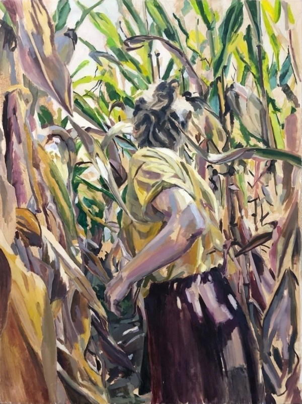woman running in yellow cornfield, nature impressionism style painting, figurative artwork