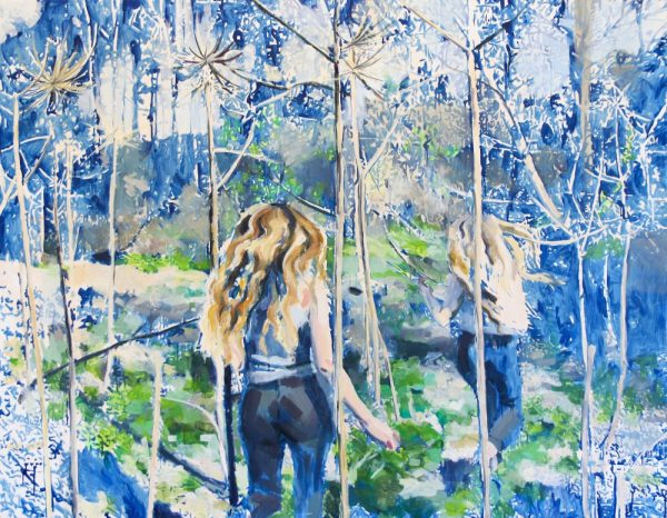 two girls running in blue and green environment with tall plants, painted in impressionist manner