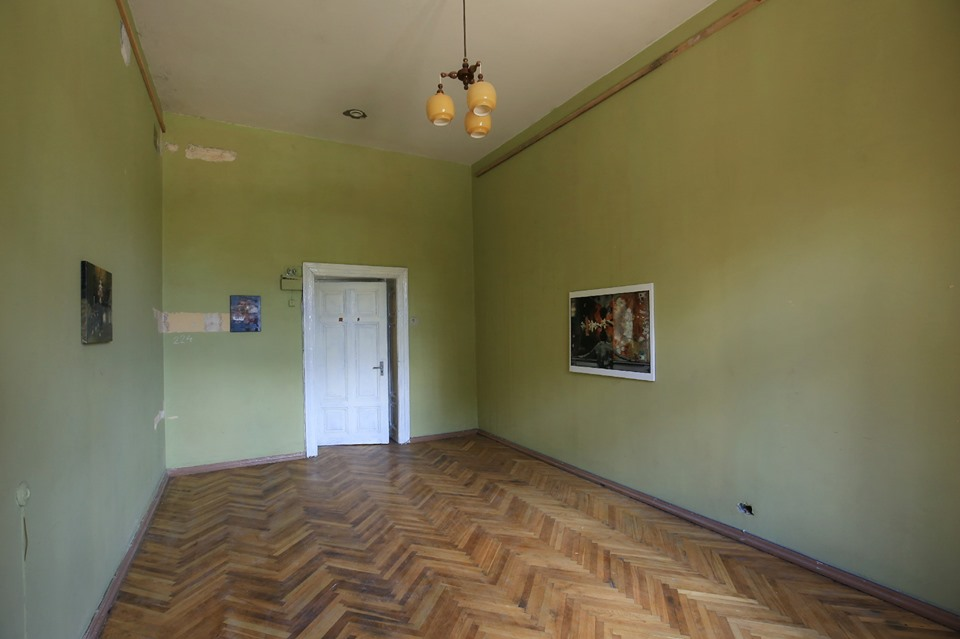 painting exposition in green manor room