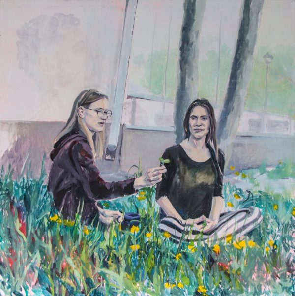 two girls sitting in grass, portrait figurative painting