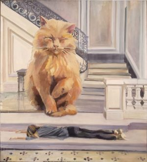 giant cat on a luxurious manor staircase, a girl laying on stairs, surreal painting