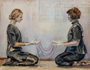 two women sitting in front of each other wearing white gloves connected with beads, caucasian woman and native canadian woman, idigenous artist, portrait