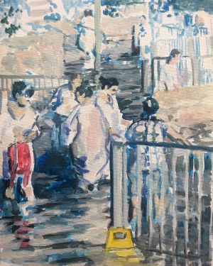 people bathing in white robes, river painting, figurative impressionist style art