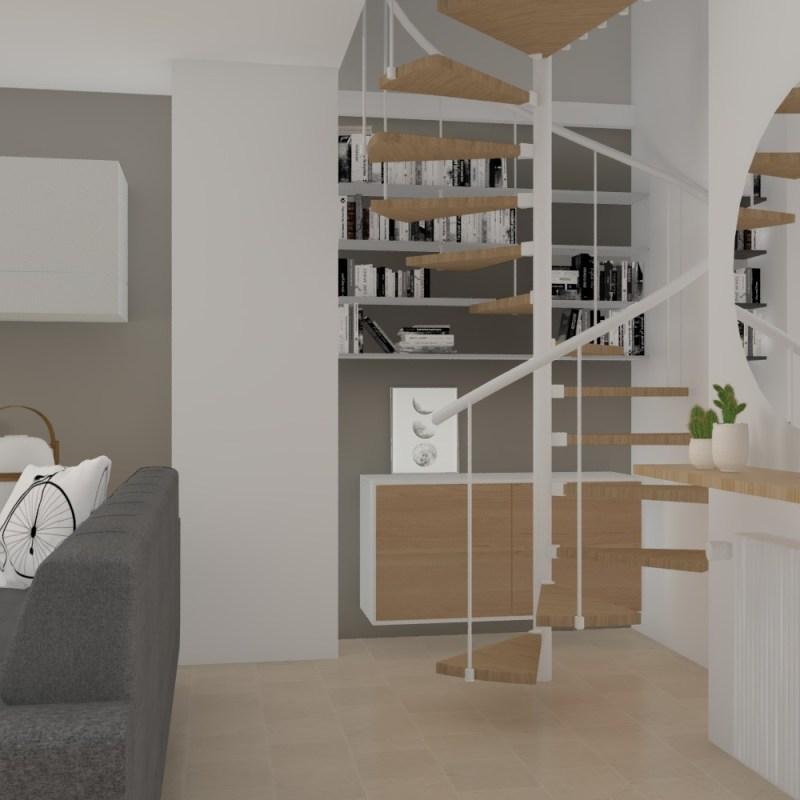 Un salón con escalera de caracol