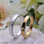 結婚指輪 平打ちリング(ミル2ライン)