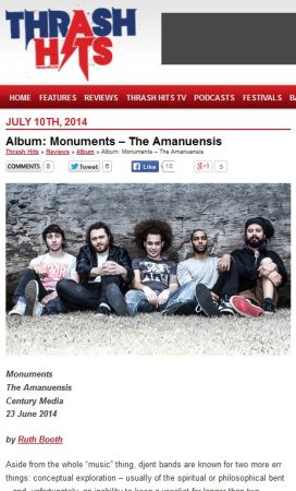 Monuments - The Amanuensis reviewed for Thrash Hits