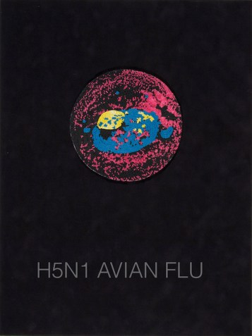 Ruth Cuthand, H5N1 Avian Flu, from the Surviving Series, 2011 glass beads, thread, backing, suede, glass, 25 x 19 in