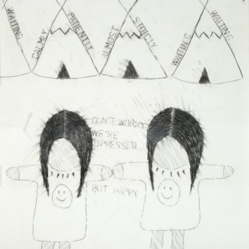 Living-Post-Oka-Kind-of-Woman (panel 3), 1990 graphite on paper 101.6 x 71.2 cm Collection of the MacKenzie Art Gallery