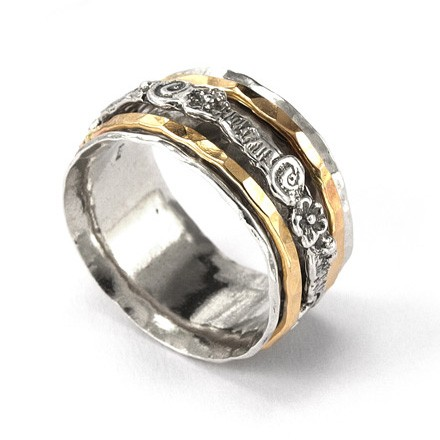 Silver Spinning Ring With Goldfilled Bands Spinner Rings