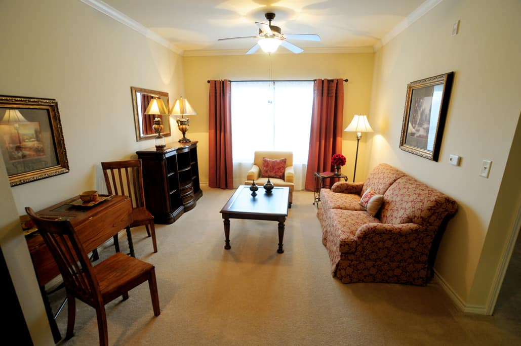 Retirement Apartment Living Room with sofa and tables