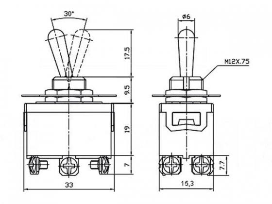 TUIMELSCHAKELAAR INBOUW 2-0-2 250VAC 10A (JS-511CLC