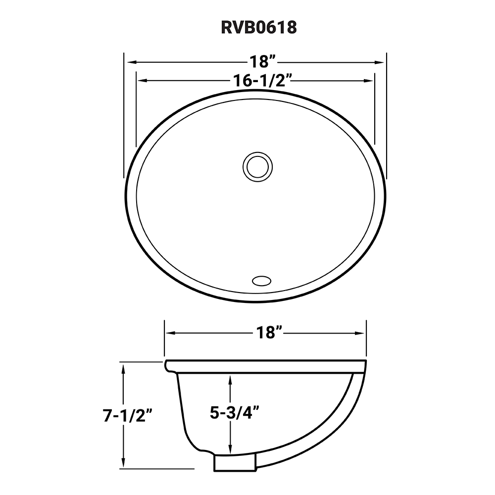 16 x 13 inch Undermount Bathroom Sink White Oval Porcelain
