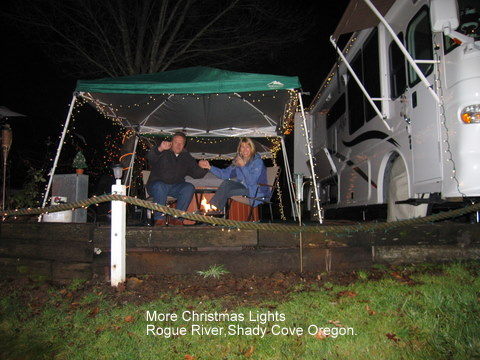 shady cove,oregon,winter,rogue river,rv,camping,christmas lights,rv in winter
