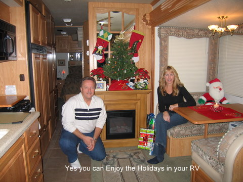 rv,camping,shady cove,christmas,fireplace,winter