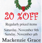 20% off purchase; FREE gift with $75 purchase