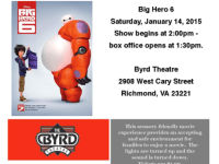Sensory-Friendly Movie and More at The Byrd: Big Hero 6