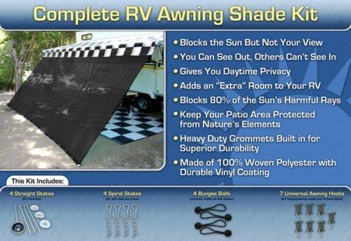 RV Awning Shade Kit RV Shade 8×16 (Black)   RV Awnings Store