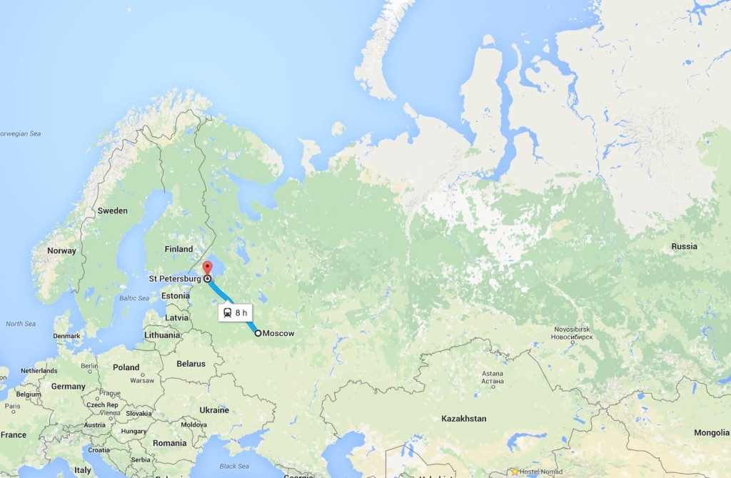 Moscow to Saint Petersburg