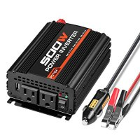 POTEK 500W Power Inverter / Car Converter DC 12V to 110V Dual AC Charging Port and 2A USB ports for Laptop, Smart Phone