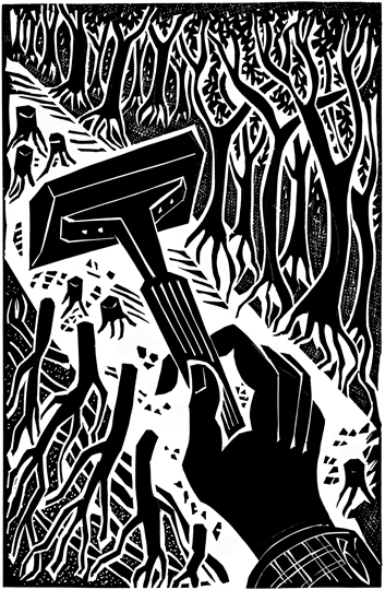 """Not Out of the Woods Yet"" - The New York Times - Op-Ed page -On Earth Day April 20, 2006 - Linoleum Cut: 14""x9""- 35x23cm"