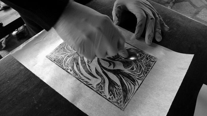 linoleum cut, workshop #14