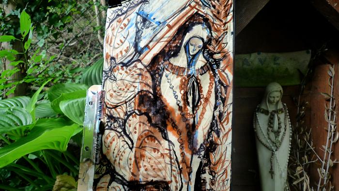 ink painting - Vierge de la Fonte # 25