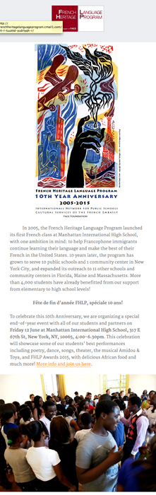 French Heritage Annoncement page