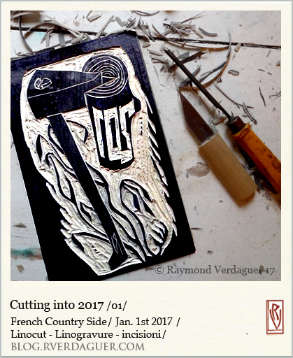 2017 cutting linoleum block in progress