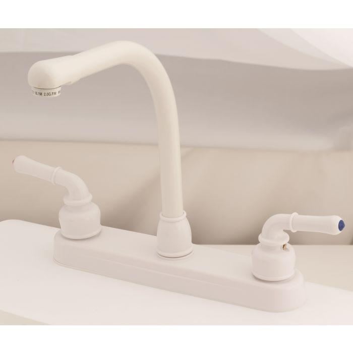 white rv mobile home kitchen faucet with hi rise spout teapot handles