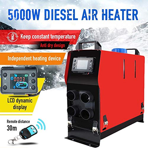 Diesel Air Heater Car Diesel Heater 5KW 12V 4 Holes LCD Monitor Parking Heater for Car Trucks Boats Bus Caravan Motorhome Parking Speed LCD Thermostat