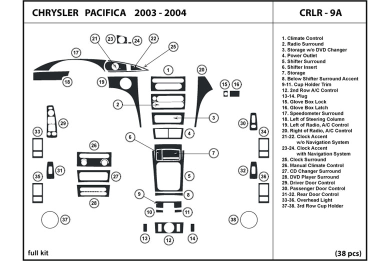 DL Auto® Chrysler Pacifica 2004 Dash Kits