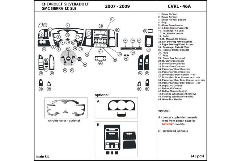 DL Auto® Chevrolet Silverado 2007-2009 Dash Kits