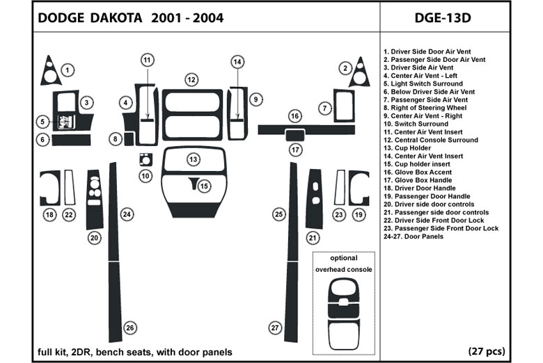 DL Auto® Dodge Dakota 2001-2004 Dash Kits
