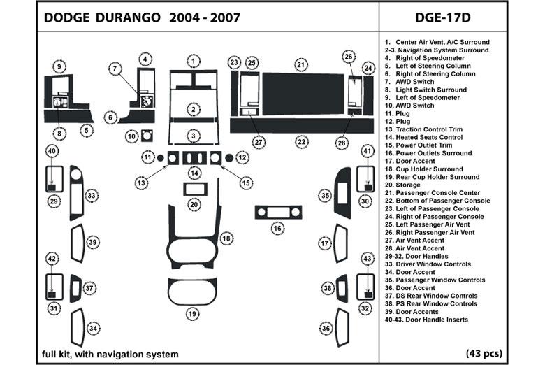 DL Auto® Dodge Durango 2004-2007 Dash Kits