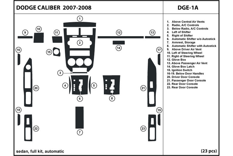 DL Auto® Dodge Caliber 2007-2008 Dash Kits