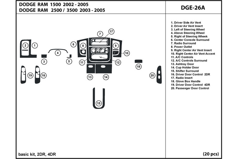 DL Auto® Dodge Ram 2002-2005 Dash Kits