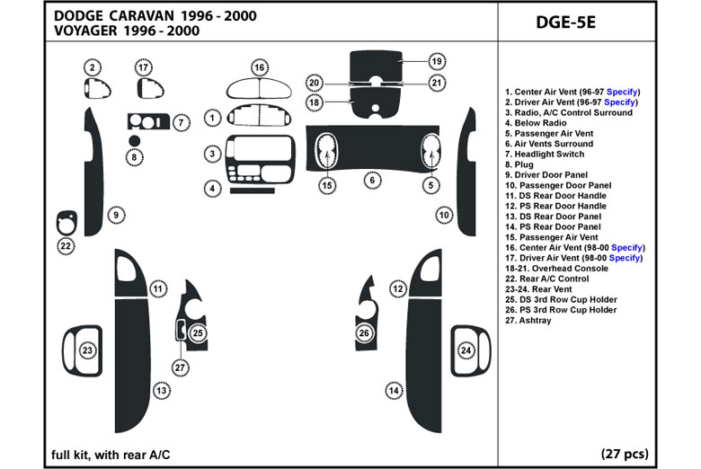 DL Auto® Dodge Caravan 1998-2000 Dash Kits