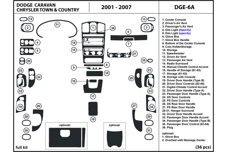DL Auto® Chrysler Town and Country 2001-2007 Dash Kits