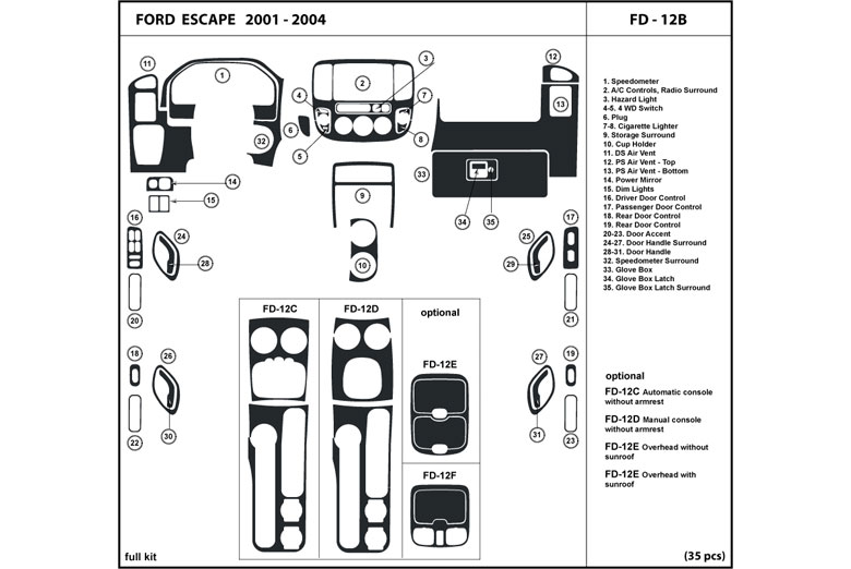 DL Auto® Ford Escape 2001-2004 Dash Kits