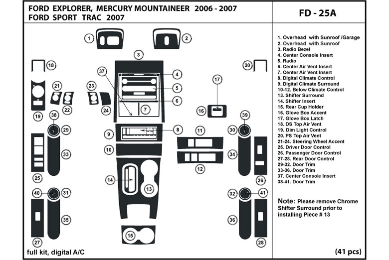 DL Auto® Mercury Mountaineer 2006-2007 Dash Kits